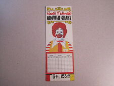McDonalds 1981 Growth Chart - Mint Condition