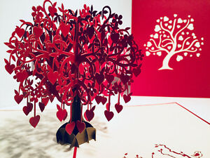 Origami Pop Cards Tree of LOVE Hearts 3D Pop Up Greeting Card Happy Wedding Love