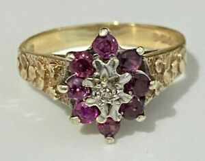 9ct solid gold W/ Ruby & Diamond cluster ring 3.55g size P 1/2 -  7 3/4