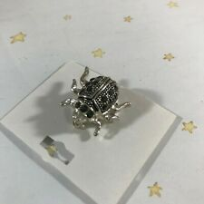 Small Ladybug Black Crystal Insect Lady Bug PIN BROOCH Silver Metal BRAND NEW