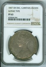 1847 Un Decimo Great Britain Crown - Gothic Type (NGC PF63)