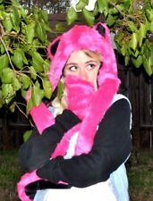 Pink Fox Spirit Hood - Fuzzy Animal Hat Hot Pink SOFT ears Black Lining