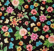 Blessed BTY Helz Cuppleditch Quilting Treasures Bright Floral Flowers Black