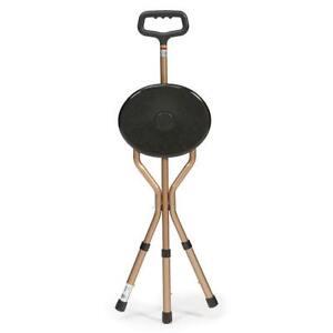 Drive Adjustable Aluminium Cane Seat Folding Walking Stick Chair Tripod Stool