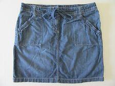 New York & Company Ladies Denim Skirt 12 Casual Faded Blue Jean Mini