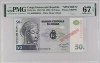 Congo 50 Francs 1997 (1998) P 89 Specimen Gem UNC PMG 67 EPQ Top Pop