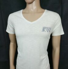 Armani Jeans Mens T Shirt Slim Fit Light Beige Spellout V Neck Top Size L