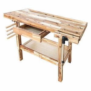 Olympia Tools 48 Inch Acacia Hardwood Woodworking Carpentry Workbench w/ Storage