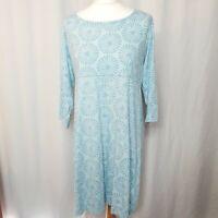 BRAKEBURN Light Blue Circle Burst Pattern Cotton Tunic Jersey Dress (UK Size 16)