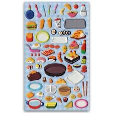 CUTE LUNCH BOX STICKERS Food Puffy Vinyl Raised Sticker Sheet Craft Scrapbook