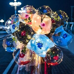 Luminous LED Balloon Transparent Bubble with Rose Flower Party Valentine's Gift
