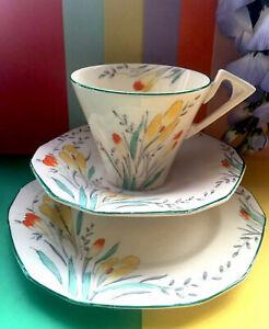 "Art Deco Vintage Alfred Meakin ""Crocus Pattern"" Tea Set Trio,Teacup,Saucer,Plate"