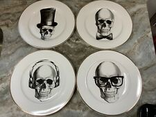Halloween Dinner Plates Set Of 4 Ciroa Wicked. Hipster Skulls With Gold Rim. New
