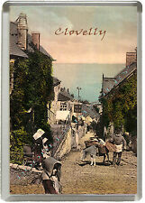 Clovelly - Very Old Image of Clovelly High St in Jumbo Fridge Magnet 90mm x 60mm