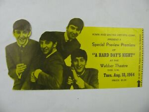 "THE BEATLES ""A HARD DAYS NIGHT"" USED TICKET WEBBER THEATRE DENVER  8/18/1964"
