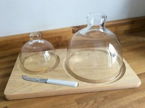 Vintage Boxed Western Glass Wood / Glass Double Domed Cheese Board Set