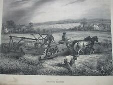 ANTIQUE PRINT C1800'S REAPING MACHINE ENGRAVING FARMING MACHINERY COUNTRY SCENE