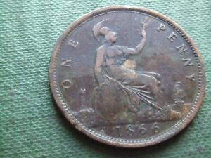 QUEEN VICTORIA.    1866, PENNY.    SCARCE.    NICE CONDITION.