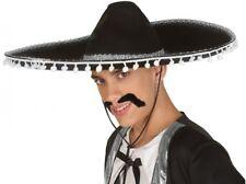 Chapeau Mexicain SOMBRERO Noir Blanc Déguisement Adulte Homme Western
