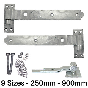 Gate Garage Hinges HEAVY Hook Band Cranked Stable Strap Shed Barn Door +Fixings