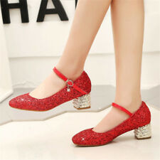 Women Ankle Strap Chunky Block Heels Wedding Shoes Buckle Belt Bling Party Pumps