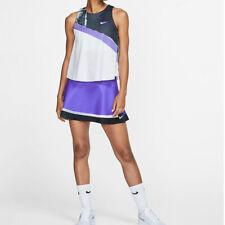 NIKE Women`s New York Court 2-in-1 Tennis Tank White Psychic Purple Large AT5408