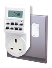 2x Electronic Digital Mains Plug-in Timer Socket LCD Display 12/24 Hour 7 Days