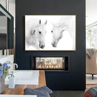 Wall Art Decor Picture - White Horses Canvas Print (UNFRAMED)