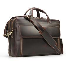 """Men Genuine Leather Briefcase 17"""" Laptop Messenger Shoulder Bag Travel Handbag"""