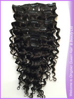 Deep Curly Clip In Remy Human Hair Extensions Natural Black (a little brown) #1B