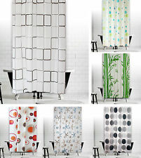 "New Modern Bathroom Shower Curtain Extra Long With Rings 180 X 200 cm (71""X78"")"
