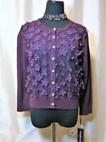 "NWT Karl Lagerfeld L $89 MSRP Purple Eggplant ""Egg"" Floral Net Front Cardigan"