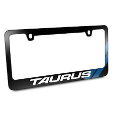 Ford Taurus Blue Carbon Texture Stripes Black Metal License Plate Frame