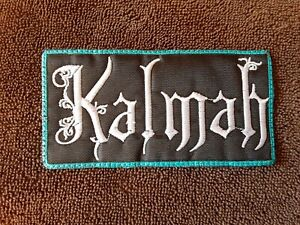KALMAH,SEW ON WHITE WITH BLUE EDGE EMBROIDERED PATCH
