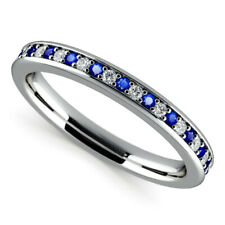 0.65 Ct Round Engagement Blue Sapphire Eternity Ring 14K Real White Gold Size O