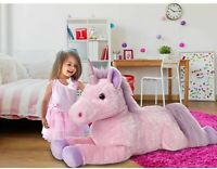 Inflatable Unicorn Plush 5ft Huge Cuddly Toy Teddy Bear in Pink Inflate-A-Mals