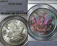 1884-O MS63 Morgan Silver Dollar $1, PCGS Graded, Magenta/Emerald Monster Toned