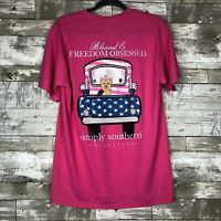 """NWT Simply Southern """"Blessed & Freedom Obsessed"""" Short Sleeve Tee sz L"""