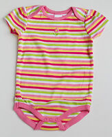 New Gymboree Girls Striped Pinks Yellow Spring Summer Bodysuit Top Flower 3m