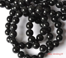 120pcs black glass round loose Spacer Beads 8mm SH452