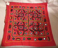Vintage 70's Old Store Stock Hand Worked Top  Pillow Cover with Mirrors, India