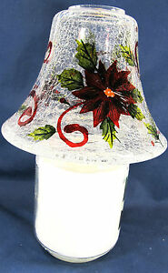 Poinsettia Hand Painted Crackle Glass Candle Jar Shade Holder Home Decor