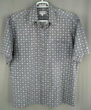 Mario Ferrari mens shirt size L gray white cotton short sleeve