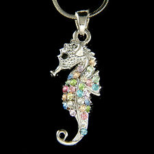 w Swarovski Crystal Rainbow Seahorse Sea Ocean Marine Beach Wedding Necklace New