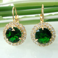 Green Emerald 18K Yellow GP Stone Crystal Zircon Leverback Earrings E2672