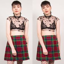 90'S CHECK TARTAN SKIRT RED & GREEN MINI VINTAGE KILT PLEATED HIGH WAISTED 10