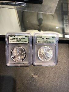 2 PC SET 2001-P & 2001-D BUFFALO silver $1- ICG -  PF70 - MS70- PERFECT - WHITE
