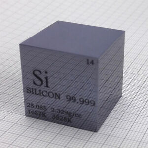 Silicon Metal Density Cube 25.4mm 99.999% 38g for Element Collection Polished