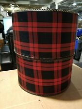 """Vintage Red Plaid Hat Wig Carrier Travel Box Case 14 1/2"""" T x 13"""" W"""