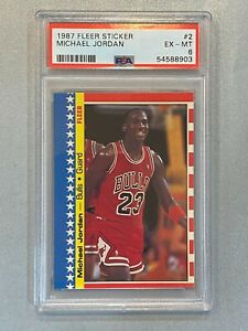 1987 Fleer Sticker #2 Michael Jordan 2nd Year - PSA 6 EX-MT - Chicago Bulls GOAT